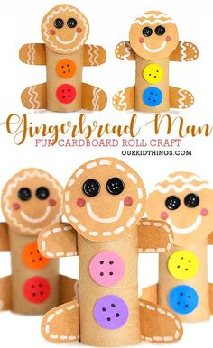 Cardboard Roll Gingerbread Man Craft - Holiday wreaths christmas,Holiday crafts for kids to make,Holiday cookies christmas, Winter Crafts For Kids, Christmas Activities, Christmas Crafts For Kids, Christmas Projects, Christmas Fun, Holiday Crafts, Cheer Crafts For Kids, Toddler Christmas, Christmas Ornament