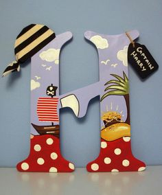 Pirate Letter / Door sign / Pirate themed Nursery Letter - Large 12 inches tall