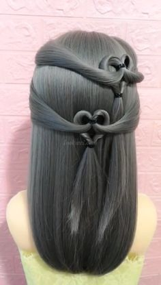 Your gf will like this hairstyle - Frisyrer - Frisuren Easy Hairstyles, Girl Hairstyles, Evening Hairstyles, Hairdos, Curly Hair Styles, Natural Hair Styles, Hair Upstyles, Long Hair Video, Heart Hair