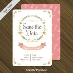 invitación floral de la boda bonita guirnalda Vector Gratis