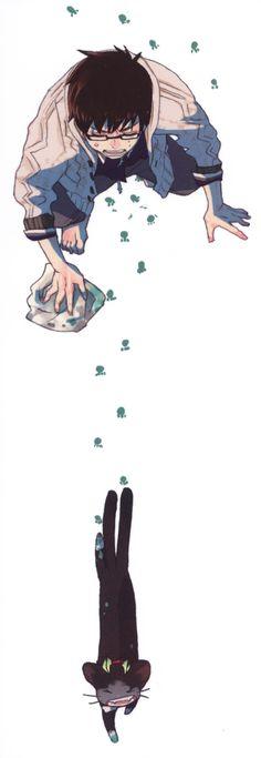 Tags: Ao no Exorcist, Okumura Yukio, Official Art, Kuro (Ao No Exorcist), Katou Kazue