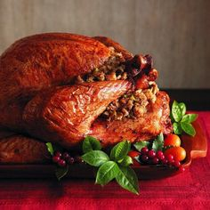 Five-herb turkey recipe with savoury fruit stuffing and brandy laced gravy