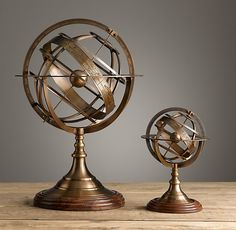 Restoration Hardware - sm 11 inches high $150; tall 20 inches high $17518th C. Brass Armillary