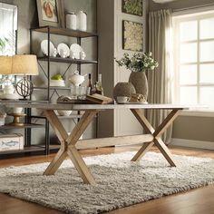 INSPIRE Q Aberdeen Industrial Zinc Top Weathered Oak Trestle Dining Table