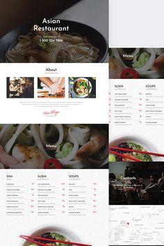 Elementor Themes, Plugins and Templates Web Design Inspiration, Design Ideas, Restaurant Menu Design, Asian Restaurants, Ui Ux Design, Psd Templates, Website Template, Wordpress Theme, Cool Designs