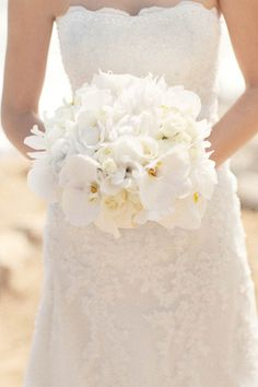 white rose and orchid bouquet - with a bit of greens this would be fantastic