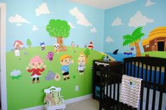 Animal Crossing bedroom - I love the animal crossing wall decor! Krissy :)