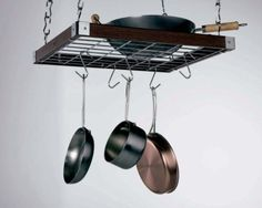 Concept Housewares PR-40293 Hardwood Square Hanging Pot Rack, Natural: Kitchen & Dining: Amazon.com