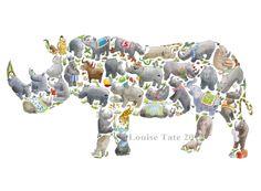 Rhino print – Louise Tate Illustration