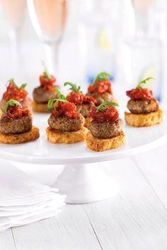 Mini Quail Meatballs On Crostini :: Make your own cookbook filled with #GameFarm #Recipes #myfoodbook