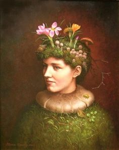 green - woman - Flora of the Crocuses, 2003 - Steven Kenny - figurative painting