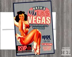 Vintage Pin Up Girl Invitation by invitationsandprints on Etsy, $14.99  Could Be Cute Invites If We Have The Party In Vegas :)