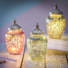 Sparkle LED jar with ornate lid   It's so pretty! #Party