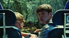 Still of Ty Simpkins and Nick Robinson in Jurassic World (2015)