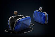 Dahlia python box clutch blue color with smoky quartz clasp closure Handmade Clutch, Cow Skin, Black Rhodium, Smoky Quartz, Modern Luxury, Cow Leather, Python, Dahlia, Exotic