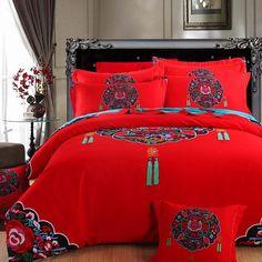 Memorecool Haustierhaus Beautiful Boho National Stil Blumen Bettwäsche Set  Reine Baumwolle Schleifen 4 Stück Reaktiver
