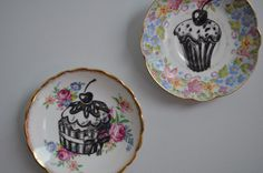 Duo of Cupcakes Upcycled Vintage China by bostoninachinashop