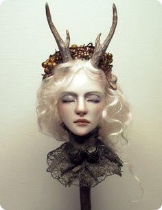 White Deer OOAK Hand-sculpted Art Doll Bust