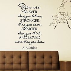 Wall Decal Quote You Are Braver Than You Believe Stronger Than You Seem Smarter Than You Think Vinyl Sticker Bedroom Nursery Home Decor Q093 #walldecals #lettering #vinylstickers #quotes http://www.amazon.com/dp/B00WJQSBD6/ref=cm_sw_r_pi_dp_YIHtvb1SX78NX