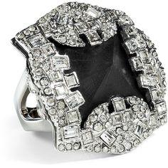ALEXIS BITTAR Black/Rhodium-Toned Teatro Moderne Pyramid Ring ($205) ❤ liked on Polyvore