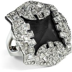ALEXIS BITTAR Black/Rhodium-Toned Teatro Moderne Pyramid Ring ($205) ❤ liked on Polyvore