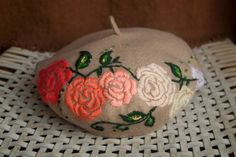 French Beret Hat, Fabric Painting, Basic Colors, Christmas Bulbs, Bloom, Berets, Beige, Embroidery, Headpieces