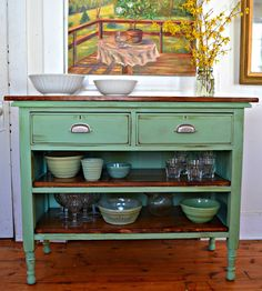 Heir and Space: Antique Dresser Turned Kitchen Island -- would be great for a si. - Heir and Space: Antique Dresser Turned Kitchen Island — would be great for a sideboard or a kitch - Refurbished Furniture, Decor, Furniture, Repurposed Furniture, Kitchen Tiles Design, Stylish Home Decor, Diy Furniture, Redo Furniture, Refinishing Furniture