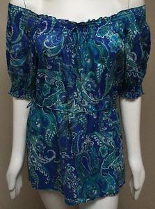 Ralph Lauren Women's Aqua Blue Paisley Smocked Off Shoulder Blouse MP Med Pet | eBay