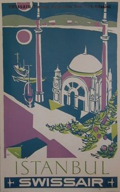 Istanbul Swissair poster by Ott, Ca 1960