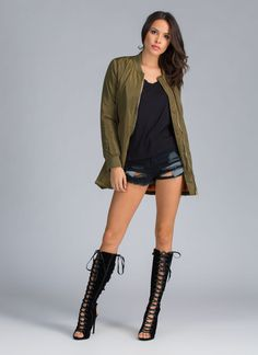 Long Olive Green Bomber Jacket Green Bomber Jacket, Olive Green, Knee Boots, Knee High Wedge Boots, Knee High Boots