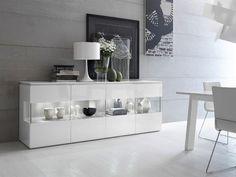 Credenza moderna / in legno / in vetro / in legno laccato TRILOCY Satarossa Design