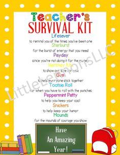 Survival Kit Gifts, School Survival Kits, Survival Kit For Teachers, Teacher Survival, New Teachers, Survival Skills, Survival Tips, O Gin, Name Activities