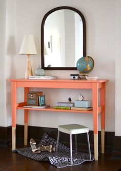painted diy entry table - w. baskets underneath instead for hat and mitt storage?