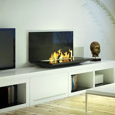 An AFIRE remote controlled bio ethanol fireplace is the perfect blend of an eco-friendly intelligent ethanol hearth and an exclusive modern design Biofuel Fireplace, Bioethanol Fireplace, Home Fireplace, Living Room With Fireplace, Wall Mounted Fireplace, Wall Mounted Tv, Standing Fireplace, Living Room Setup, Design Loft