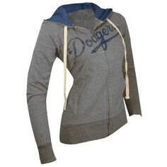 Los Angeles Dodgers Women's Tried And True Hooded Sweatshirt (Heather Gray)- large