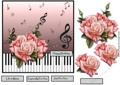 Gorgeous musical card with pink roses, for any occasion.