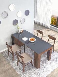 Kitchen Room Design, Modern Kitchen Design, Home Decor Kitchen, Kitchen Dinning, Wooden Kitchen, Dinning Table Design, Furniture Dining Table, Kitchen Furniture, Space Saver Dining Table