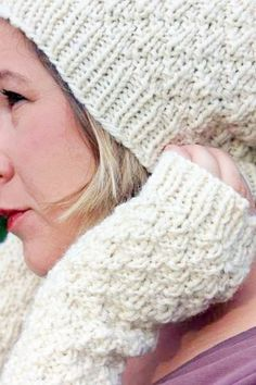 White and wooly! Cute slouchy beanie and matching knit fingerless gloves  made from minimally process, undyed wool, at Tinker Creek Handknits.