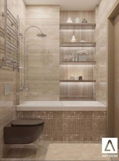 Tiny Bathroom Tub Shower Combo Remodeling Ideas 46 - Home Decor Design Bathtub Shower Combo, Bathroom Tub Shower, Basement Bathroom, Bathroom Shelves, Bathroom Closet, Glass Shelves, Bath Tubs, Shower Niche, Spa Shower