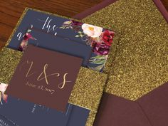 Marsala gold and navy wedding invitation with gold glitter accents. Burgundy and gold wedding. Merlot navy and gold floral wedding invitation