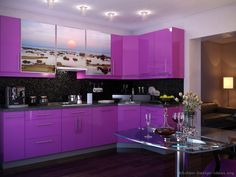 Another purple kitchen - but with artwork on the cupboards