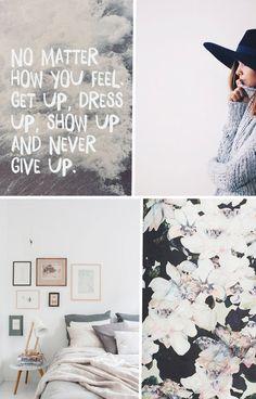 [ Quote via Spoken.ly » Outfit via Free People » bedroom via Avenue Lifestyle » flowerprint via Nordstrom ]