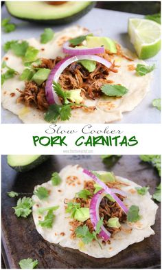 Slow Cooker Pork Carnitas - fall off the bone tender and packed full of amazing flavors... try this in your crockpot tonight!!