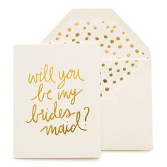 Our Playful Will You Be My Bridesmaid card is letterpress printed by hand on antique machinery. Gold foil on cream paper, paired with a cream envelope and gold foil dalmatian liner.