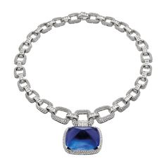 Bulgari's Burmese cabochon blue sapphire necklace from the new Festa collection, on a platinum chain with diamonds. http://www.thejewelleryeditor.com/shop/product/bulgari-festa-il-magnifico-burmese-cabochon-sapphire-high-jewellery-necklace/ #jewelry