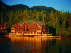 king pacific lodge, princess royal island, cananda / ecolodge set on a former us navy floating barge - you have to hydroplane in