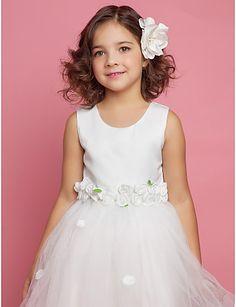 balo elbisesi kepçe diz boyu saten ve Tull çiçek kız elbisesi  $34.99
