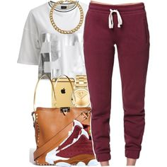 A fashion look from November 2014 featuring VILA blouses, LA: Hearts activewear pants and Valentino shoulder bags. Browse and shop related looks. Swag Outfits For Girls, Cute Swag Outfits, Chill Outfits, Teenager Outfits, Dope Outfits, Casual Outfits, Lit Outfits, Dress Outfits, Winter Outfits