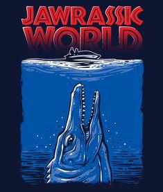 Jawrassic World - Jaws - Jurassic World Mash-up T-Shirt - Men's T-Shirt - Mosasaur - Mosasaurus - Guys TShirt S M L XL XXL