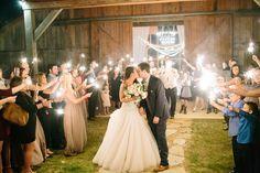 Sparkler exit. Barn wedding in Dallas TX (Photography by Britney Tarno)